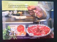 L) 2014 SPAIN, SPANISH GASTRONOMY, FLOWER, TANGERINE, IBERIAN HAM, FULL COLORS