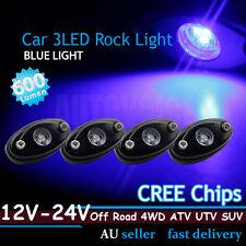 4pcs Blue 3-CREE 9W High Power LED Rock Lights Car Van Truck ATV Off-road Boat