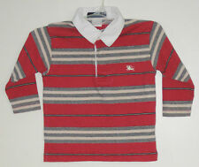 BURBERRY Boys Size 12 Months Red Striped Long Sleeve Shirt