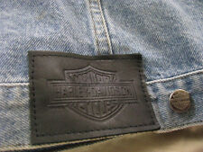 Harley Davidson Denim Jean Jacket Vest Factory Bar & Shiels Embroidered Men L