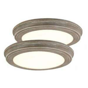 """Commercial Electric 13""""Weathered Gray Wood Color Changing LED Ceiling FlushMount"""