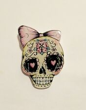 Quirky Kitsch Funky Skull Pink Ribbon Flower Candy Steampunk Punk Brooch Pin
