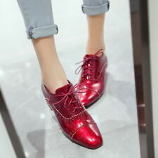 Fashion Women Patent Leather Brogues Oxford Chunky Heel Square Toe Lace Up Shoes