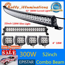 "52INCH 300W CURVED LED LIGHT BAR+SLIM 120W 22"" DRIVING LAMP & 4PCS 18W CREE PODS"