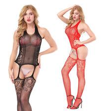 Women Stretchy Sexy Lingerie Open Crotch Mesh Socks Full Body stockings Bodysuit