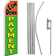 Low Down Payment Orange / Green Swooper Flag & 16ft Flagpole Kit/Ground Spike