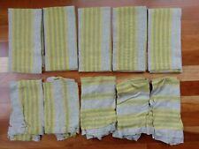 Williams Sonoma Green Yellow Dinner Napkin Farm Stripe Natural Linen Cloth 10