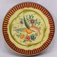 Vintage Decorative Round Tin with  Bird of Paradise and Flowers on Lid 1960s