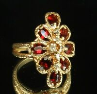 14K GOLD BASCO Cocktail Ring (8) Pyrope GARNETS (4.4ct) & (6) DIAMONDS Sz 6 FAB!