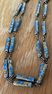 """Vtg Chinese Export Sterling Silver Cloisonné? Enamel Beaded Necklace 30"""""""