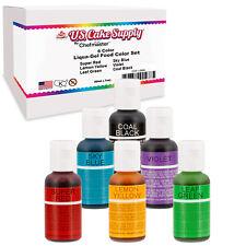 6 Color Cake Food Coloring Liqua-Gel Primary Set .75 fl. Oz. (20ml) Bottles