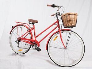 SAMSON CYCLES VINTAGE LADIES BIKE RED RETRO 7 SPEED CRUISER