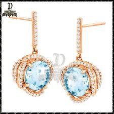 2ct Round Aquamarine Diamond Delicated Stud Womens Earrings 14k Rose Gold
