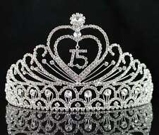 QUINCEANERA 15 FIFTEEN BIRTHDAY RHIESTONE TIARA CROWN WITH HAIR COMBS T1756