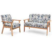 Modern Living Room Sofa Set w/ Loveseat Sofa Couch&Accent Armchair Blue Floral