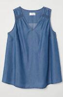 H&M Mama Maternity Conscious Lyocell Blue Denim Sleeveless Tank Top Size XL