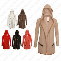 Ladies Women's Long Sleeve Hooded Open Jacket Top With Pockets One Size 8-14