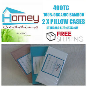 400TC 100% Organic Bamboo Luxury Bed 2X Standard Pillow Cases 48x73cm