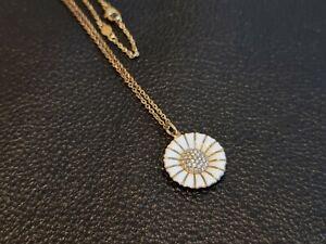 Denmark Georg Jensen 925 Sterling Silver Gilt Enamelled Daisy Necklace