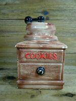 Vintage Large McCoy Pottery Ceramic Coffee Grinder Shaped Cookie Jar w/ Lid