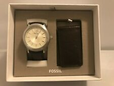 Fossil BQ2338 Editor Three-Hand Brown Leather Watch And Wallet Box Set MSRP $155