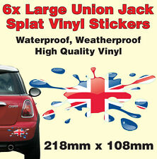 Car/ Van/ Boat. Union Jack Splat STICKERS X 6
