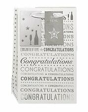 Small White & Silver Congratulations Gift Bag 20cm x 12.5cm x 9cm - Any Occasion