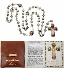 NEW MADE IN ITALY SILVER ROSEBUD BEAD ROSARY OF THE LUMINOUS MYSTERIES W/ POUCH