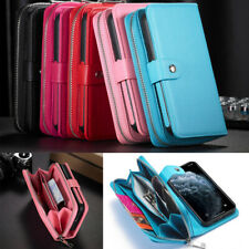PU Leather Zip Phone Wallet Case Cover Purse for iphone 13 12 X Samsung S21 Note
