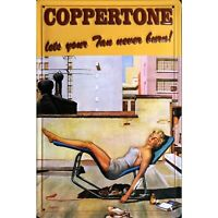 COPPERTONE SUN LOTION/ TANNING :EMBOSSED(3D) METAL ADVERTISING SIGN 30X20cm DOGS
