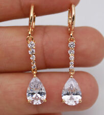 EPIC Vault 18K yellow Gold Filled - 1.5'' White Waterdrop Topaz Dangle Earrings