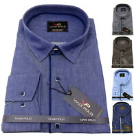 Men's Plain Cotton Shirt Classic collar Formal Casual Long sleeve