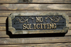 No Soliciting Plaque Carved Wood Sign w/ Antique Brass Handpainted Highlights