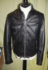 NWT DIESEL BLACK GOLD mens 100% lamb skin black leather hood jacket 48 38 ITALY