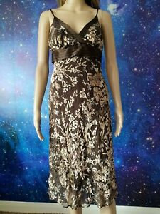 NEW LOOK brown floral lined straps SILK blend A-line dress size 10 1100