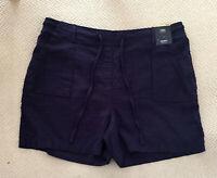 "Ladies M&S Sizes 16 22 Linen Rich Shorts  5""L Bnwt Navy"