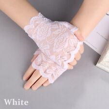 2018 Women Evening Bridal Wedding Party Dressy Lace Fingerless Gloves Mittens White