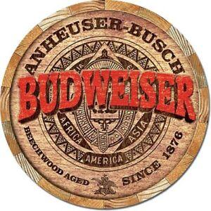 "Budweiser Barrel End 12"" Round Tin Metal Sign Nostalgic Bar Club Beer Home Decor"