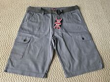 NWT Men's Revolution Gray Cotton Cargo Pocket Shorts w/ Belt ALL SIZES 36 38 40