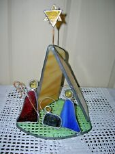"""Handmade Stained Glass Nativity Scene 10"""" With Stable & Star - Signed R Boyer"""