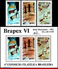 1998-2000A BRAZIL 1985 CAVE PAINTING, ROCK ART, BRAPEX VI, DEER, S/S AND SET MNH