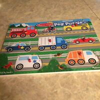 NEW Melissa and Doug peg puzzle Vehicles