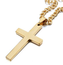 Jesus Cross Pendant Necklace for Men 50cm Link Chains Christian Crucifix Gold