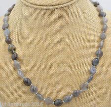 Natural 8-10mm Labradorite Irregular Shapes Gemstone Necklace 18''