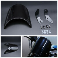 Black PC Motorcycle Bikes Front Windshield For Yamaha XJR Kawasaki Honda Suzuki