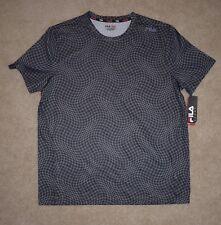 New Mens Fila Sport Shirt XL Black Short Sleeve Athletic Running Gym Fitness