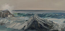 BIG ROCKS Original Seascape Pacific Ocean Expression Painting 10x20 022920 KEN