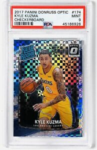 2017 Kyle Kuzma Optic #174 Checkerboard Holo SP PSA 9 MINT Lakers RC 🔥📈