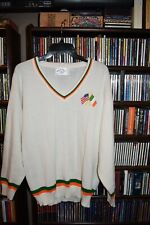 New listing Vitg Irish Ireland American Usa Flags white V neck Sweater Mens M unisex (b174)