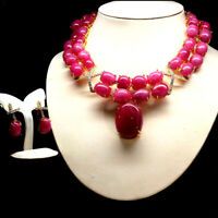 """REAL 31X40mm - 13X18mm. PINK RUBY TOPAZ EARRINGS & NECKLACE 4.5"""" X 7"""" 925 SILVER"""